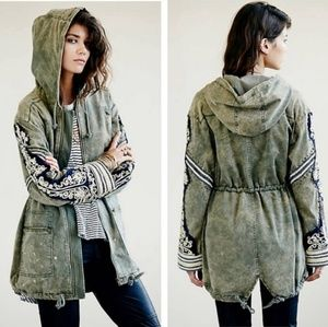 Free People Golden Quills Olive Utility Jacket
